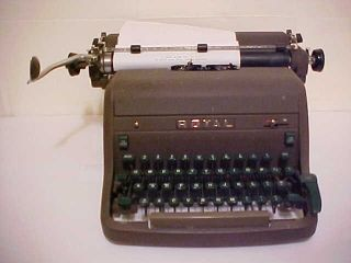 Vintage Royal Portable Typewriter Industrial Era Streamlined Green Key (4 Bank) photo