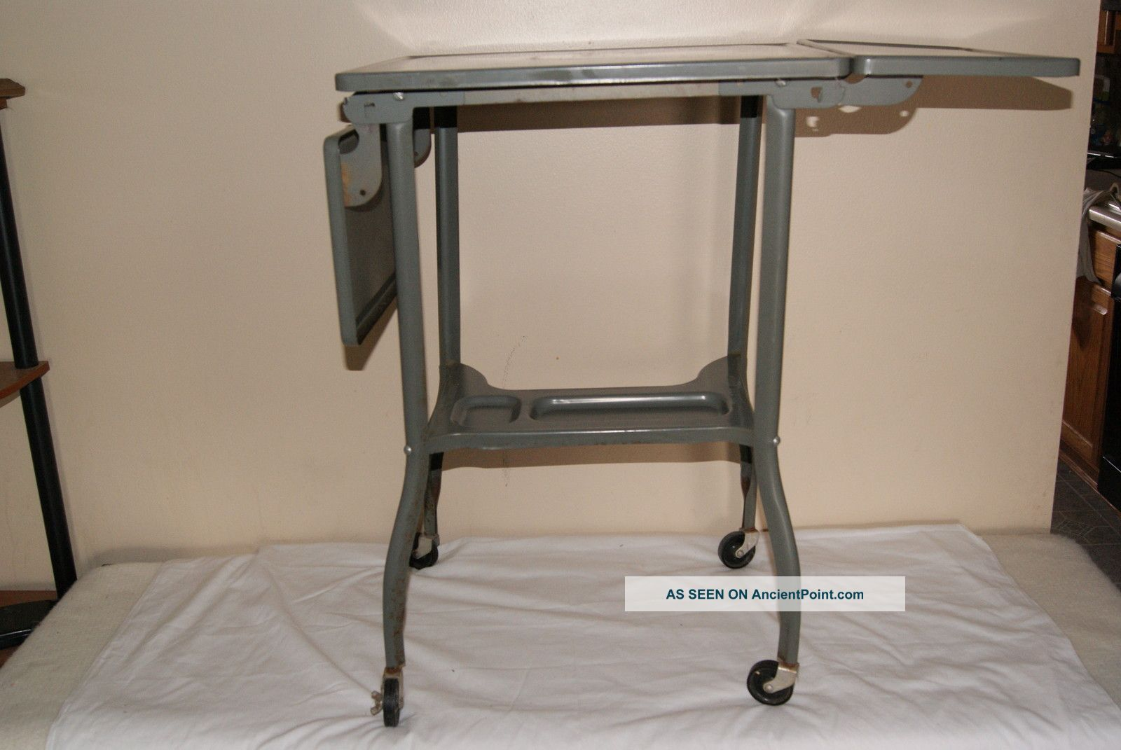 Vintage Toledo Metal Industrial Age Folding Table Workbench Machinist Wheels Other photo