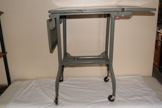 Vintage Toledo Metal Industrial Age Folding Table Workbench Machinist Wheels photo