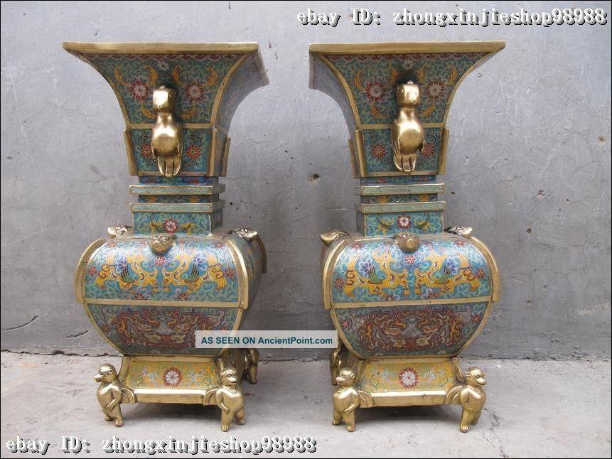 China Royal 100% Pure Bronze Cloisonne Monkey Bird Beast Veins Palace Vase Pair Reproductions photo