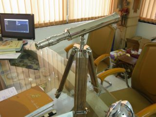 Nautical Silver Brass Telescope With Tripod Stand photo