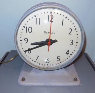 Vintage Double - Sided Simplex Factory Clock - Steam Punk,  Industrial,  Rare photo
