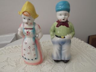 Rare Large Vintage Dutch Boy And Girl Salt And Pepper Shakers Japan photo