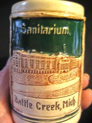 Battle Creek Sanitarium Souvenir Ceramic Stein 436/8 Made In Germany,  Old photo
