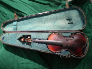 Old/antique German Violin Mittenwald 7/8 Size C.  1890 Highly Flamed Tiger Maple photo
