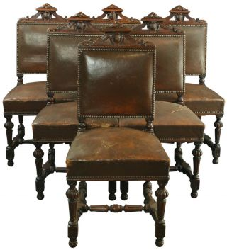 Set Of 6 Antique French Renaissance Dining Chairs,  Oak/leather,  1900s France photo