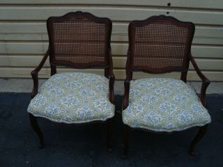 51223 Pair French Country Oak Caned Back Dining Armchairs photo