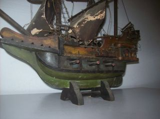 Antique Old Wood Wooden Folk Art Red Black Green Decorative Model Ship Boat Nr photo