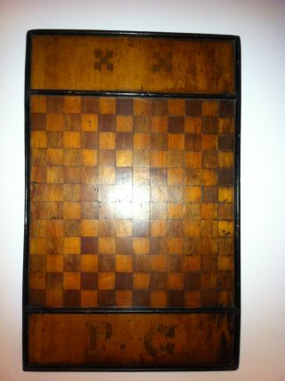 Antique Folk Art Checkerboard Game Board Signed Inlaid Wood photo