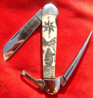 Scrimshaw Art,  Tall Ship,  Compass,  Harpoon,  Marlin Spike,  Folding Knife/knives photo