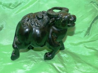 Fine Chinese Cherry Amber Carving Of Water Buffalo & Child & Heavy photo