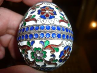 Antique Russian Ak 84 Silver Cloisonne Enamel Easter Egg photo