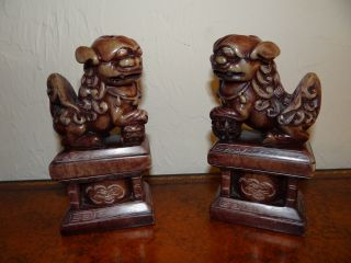 Antique Pair Chinese Carved Soapstone Foo Dogs 7