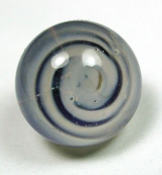 Antique Paperweight Glass Button Blue & White Spiral Design photo