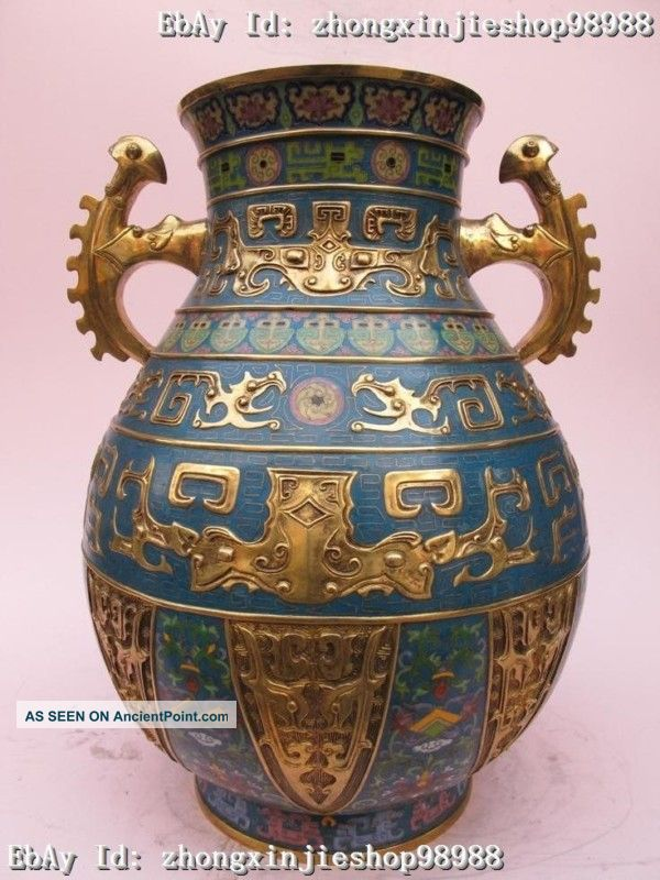 China Royal Family 100% Pure Bronze Cloisonne 24k Gold Beast Veins Palace Vase Reproductions photo