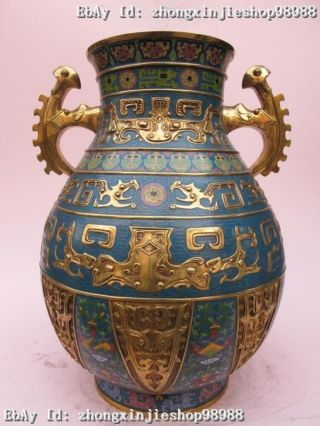 China Royal Family 100% Pure Bronze Cloisonne 24k Gold Beast Veins Palace Vase photo