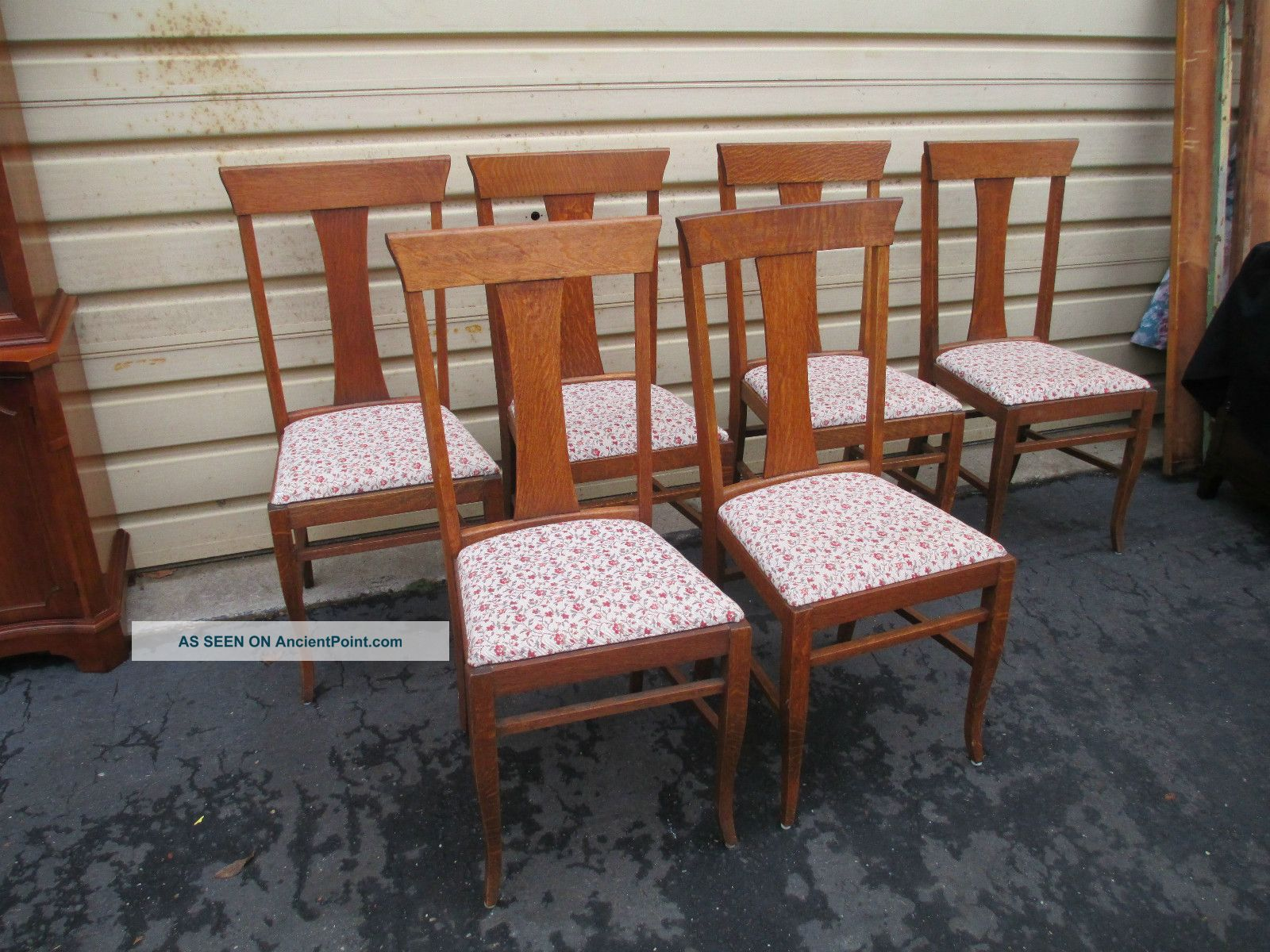 Set Of 6 Antique Oak Refinished T Back Dining Chairs 1900 1950 Photo. Full resolution‎  img, nominally Width 1600 Height 1200 pixels, img with #774129.