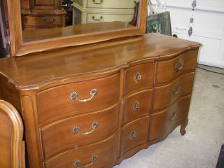 Vintage French Provincial Triple Dresser,  Mirror,  Chest Of Drawers And King Bed photo