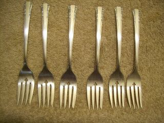 6 Rogers1939 Del Mar Salad Or Dessert Forks Oneida Ltd Silverplate photo