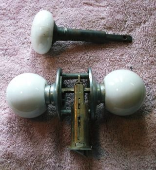 3 Vintage Door Knobs Porcelain photo