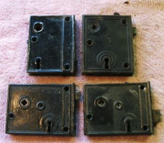 4 Vintage Surface Mount Door Locks photo