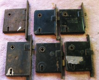 6 Vintage Mortise Door Locks photo