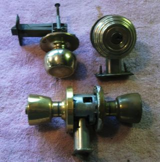 3 Vintage Door Knobs & Bolt Lock Brass photo