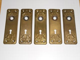 5 Vintage Brass Plated Door Back Plates (all Match) photo