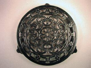 Vintage Antique Big French Decotec Black Enamel Cast Iron Country Kitchen Trivet photo