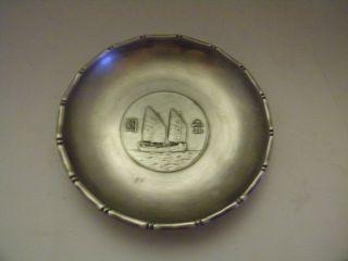 Vintage 1930 ' S Wai Kee Sterling Junk Ship Dollar Coin Dish/made In Hong Kong photo