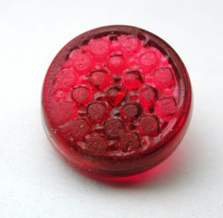 Antique Charmstring Glass Button Cranberry Color Candy Mold Swirl Back photo