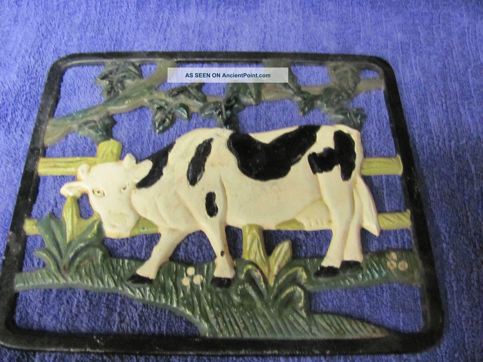 Vintage French Farm Trivet - Painted - Cast Iron - Trivets photo