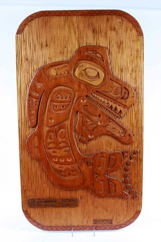 Haida Indian Tribe Wood Carved Killer Whale Totem By D.  Kipling - Authentic,  Big photo