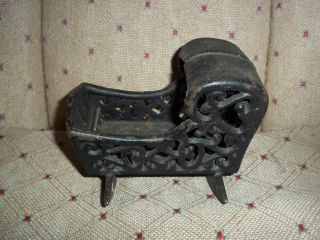 Antique Cast Iron Baby Cradle Small Toy Sample ? Goth photo