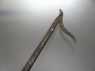 Antique Old Wrought Iron Metal Fireplace Tool Set Log Tongs Poker Shovel Brush photo