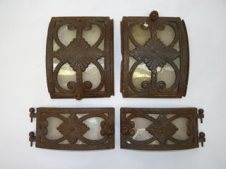 Set Of Four Antique Old Metal Cast Iron Mica Ornate Woodstove Doors Parts photo