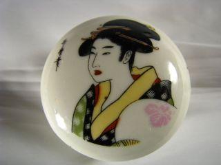 Hand Painted Signed Porcelain Box Ceramic Trinket Japan Ca1900s Excellent Cond photo