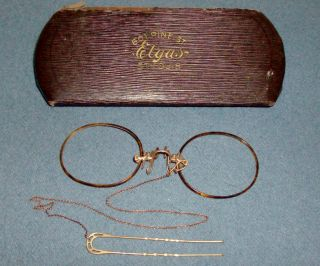 Tortise Shell Pince Nez Eyeglasses With Chain,  Hair Pin & Case Parts Or Repair photo