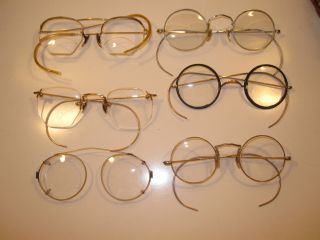 Lot 6 Antique Vintage Some Gold Filled 1/12kg Eyeglasses,  Cases,  Some Scrap photo