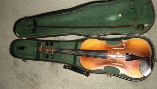 Vintage / Antique German Violin & Case No Makers Name Copy Of Stradivarius photo