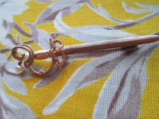 Vintage Brooch Gold Tone And Faux Pearl/sword photo