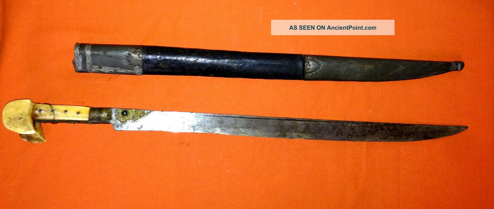 Ottoman Turkish Yatagan Yataghan Antique Islamic Sword Old Shamshir Persian Indo Middle East photo