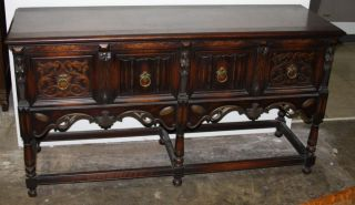 American Carved Walnut Sideboard/ Server photo