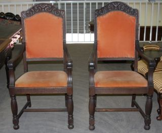Pair Of Antique Carved Oak Chairs photo
