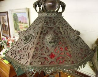Large Antique Bronze Chandelier Ornate (possibly German) photo