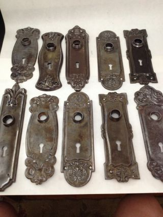 10 Old Brass Plated Arts Craft Deco Victorian Nouveau Glass Door Knob Back Plate photo