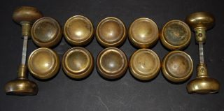 Set 14 Matching Brass Doorknobs Deco Victorian A&c photo