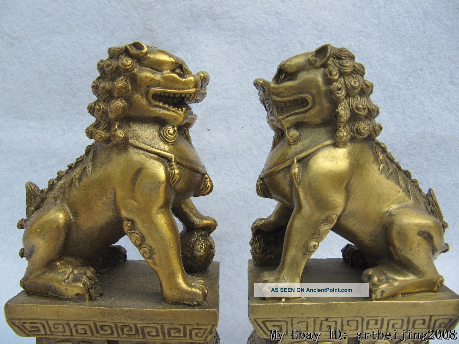 6 Inch Chinese Brass Fu Foo Dog Kylin Lion Guardian Statue Pair Reproductions photo
