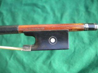 Old German Violin Bow Alfred Herrmann/bausch Silver/ebony Frog French Eye C.  1920 photo