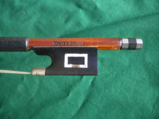 Old German Violin Bow Walter Grunke Brand Silver Mounted Frog C1930 - 50 photo